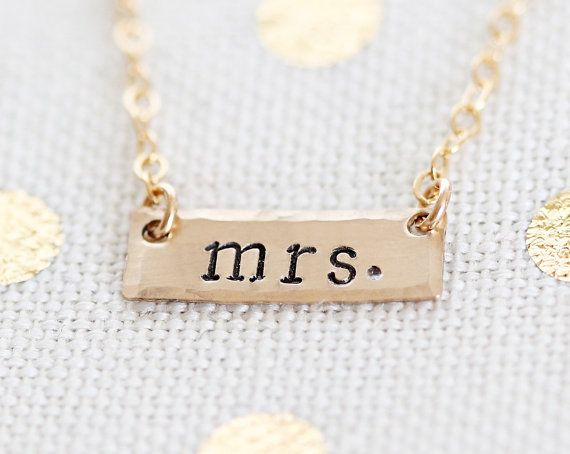Dainty Gold Mrs Necklace Bar Bridal Jewelry Bride by VivaRevival