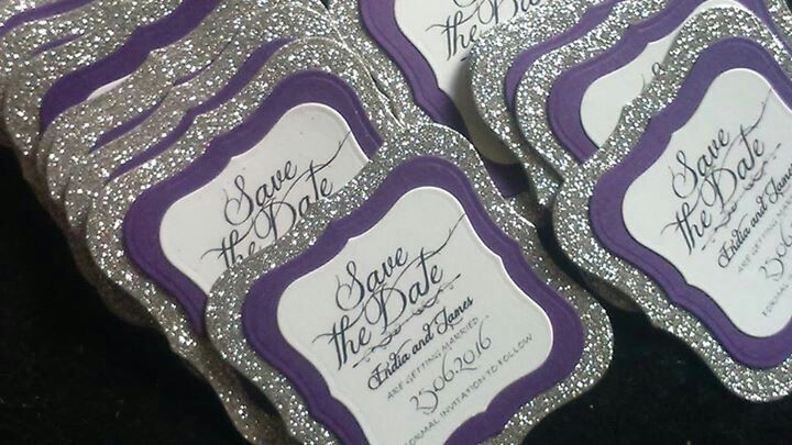 Purple and glitter save the dates. Roses of the bay- wedding stationery.