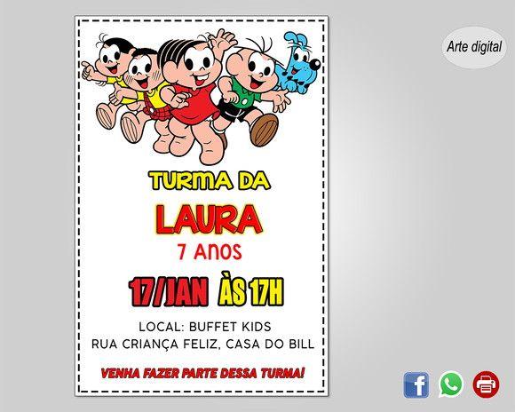 Convite Turma Da Monica Digital Convites Turma Da Monica Turma