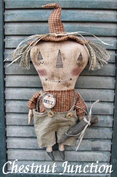 Bo Scarecrow EPATTERN - primitive halloween fall thanksgiving cloth doll craft digital download sewing pattern -PDF - 1.99