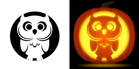 Cute owl pumpkin carving stencil. Free PDF pattern to download and print at http://pumpkinstencils.org/download/cute-owl-pumpkin-stencil/