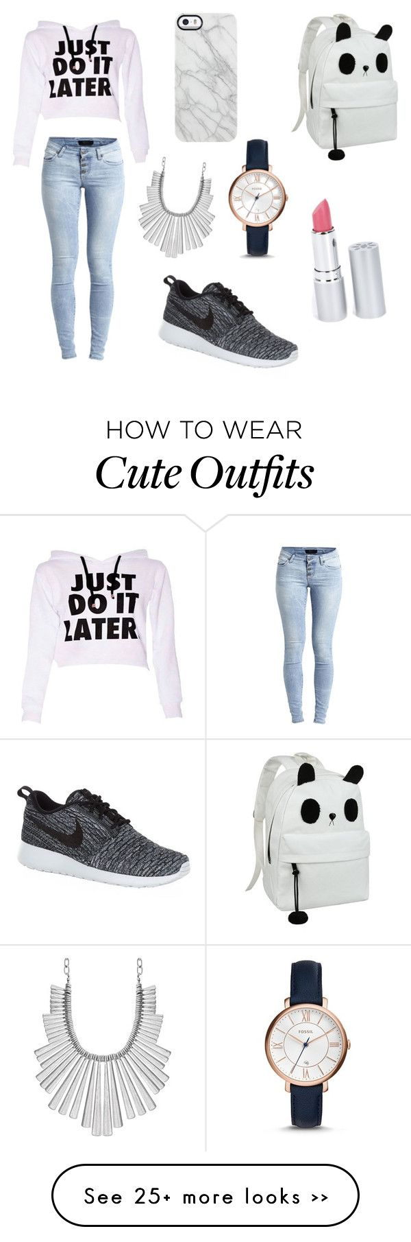"""chill school outfit"" by tjvxxi on Polyvore featuring Object Collectors Item, NIKE, Uncommon, FOSSIL, Lucky Brand and HoneyBee Gardens"