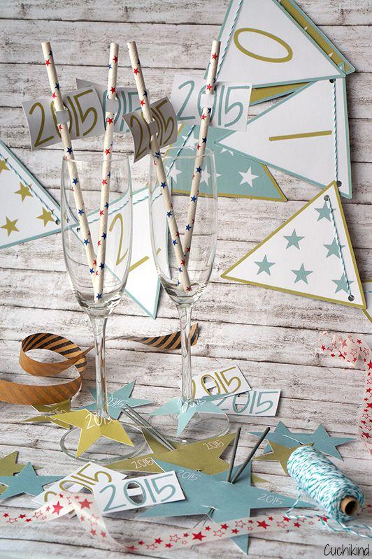 "Silvester-Freebies ""Welcome 2015"". Deko für die Silvester-Party. New Years eve party. Printalble"