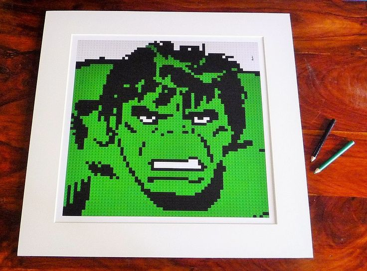 "The Incredible Hulk print of original Lego® mosaic (12"" square) by OxfordBrickArt on Etsy"
