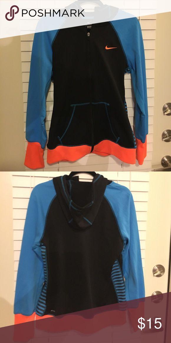 Nike Sport Jacket Neon blue, orange and black Therma-Fit Nike sport jacket with hood. Nike Jackets & Coats Utility Jackets