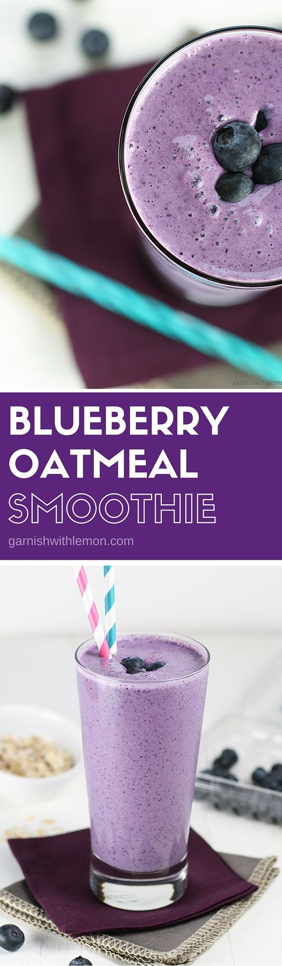 This Blueberry Oatmeal Smoothie recipe is a quick and tasty way to pack some protein into your on-the-go breakfast.