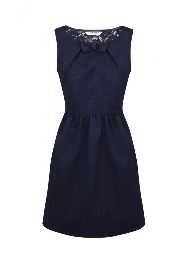 Robe cintrée sans manches avec noeud bleu nuit - robes femme -