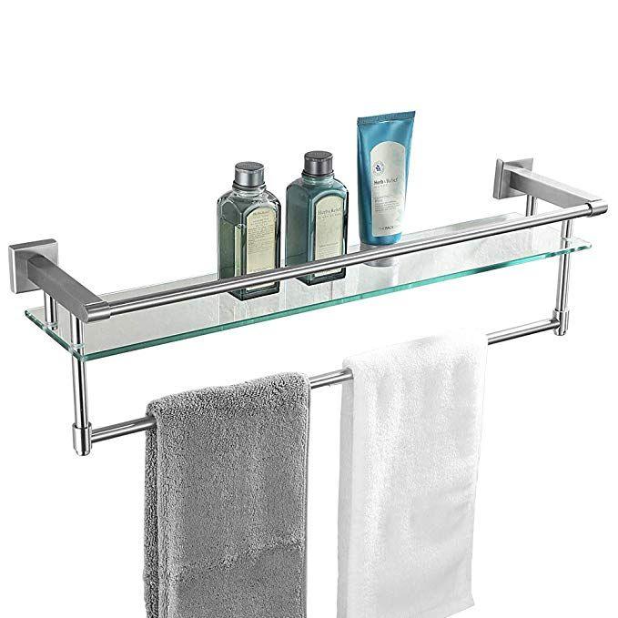 Jqk Bathroom Glass Shelf Stainless Steel Large Towel Rack With 24