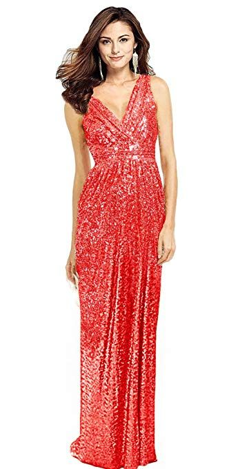 72299f9f6384 Butmoon Women's Sequin V Neck Prom Dress Long Sexy Plus Size Bridesmaid  Dress at Amazon Women's