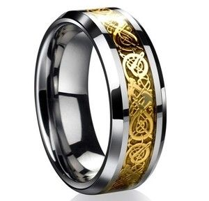 Dragon Tungsten Gold Tone Celtic Ring Mens Wedding
