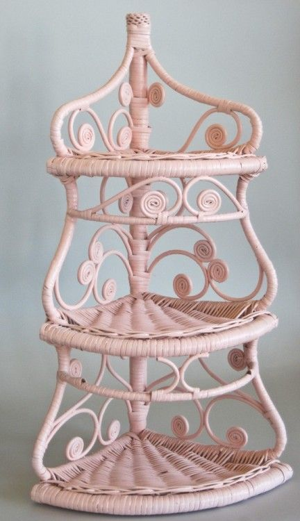 Wicker Corner Shelf Pink and Shabby by @olliesfinethings | classic as a wicker chair.