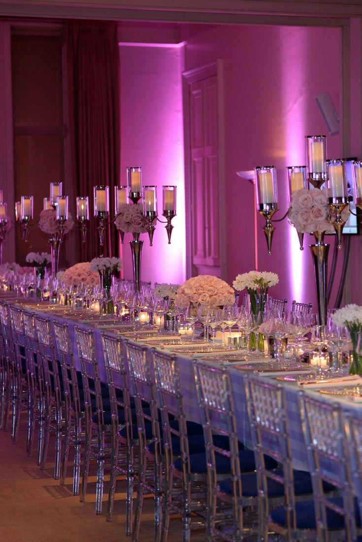 Elegant Dinner Party at Kent House Knightsbridge where we filled the venue with scented flowers and candles and lit it with moody mauve lighting