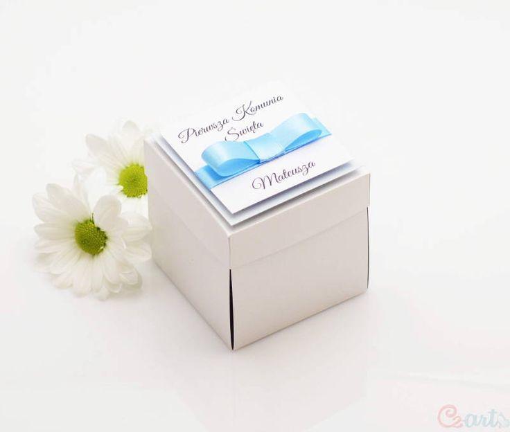 Zaproszenie komunijne pudełko niebieskie Cz-art Laboratorium kreatywności