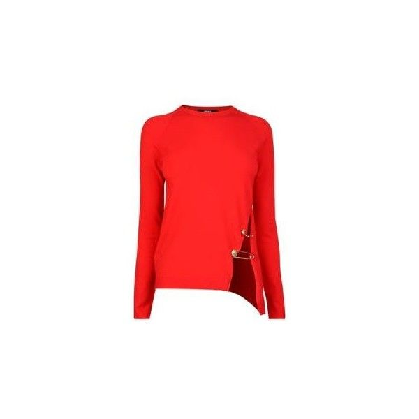 VERSUS VERSACE Safety Pin Jumper (€150) ❤ liked on Polyvore featuring tops, sweaters, blouses, shirts, red, long sleeve jumper, crew neck shirt, crewneck shirts, red long sleeve top and long sleeve tops