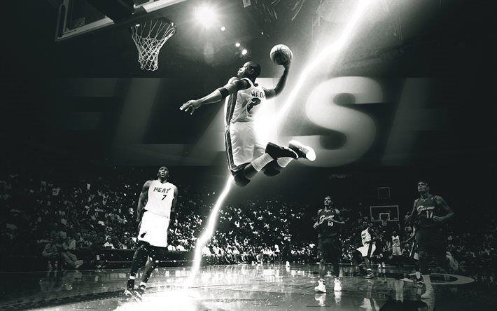 Scarica sfondi Dwyane Wade, NBA, i giocatori di basket, monocromatico, dunk