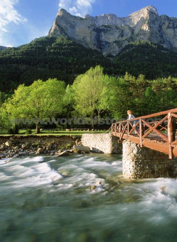Ara River By Broto In Ordesa National Park Huesca Province Of Aragón Pyrenees Mountains Spain,