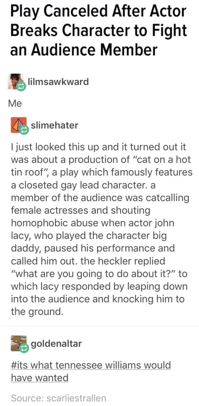 THIS FREAKING HAPPENED AT MY SCHOOL PLAY! These boys were laughing throughout the entire play, and this girl jumped off stage and told them to shut up