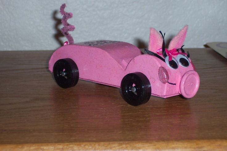 """Second year of Awana Grand Prix, we knew a little more.  This was our """"Rhode Hog"""".  Not a very fast one, but this little piggie took first place in design which made for a delighted first grade girl!!  This was in 2005."""
