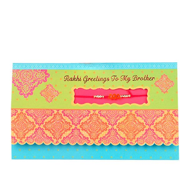 Rakhi Greetings To My Brother Rs. 40.00   Rakhi greeting to my brother If anyone deserves a day full of fun and good times, it's definitely you, my brother. Happy Rakhi.     Rakhi included with card.