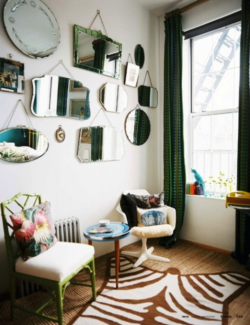 frameless mirrors with hanging chains