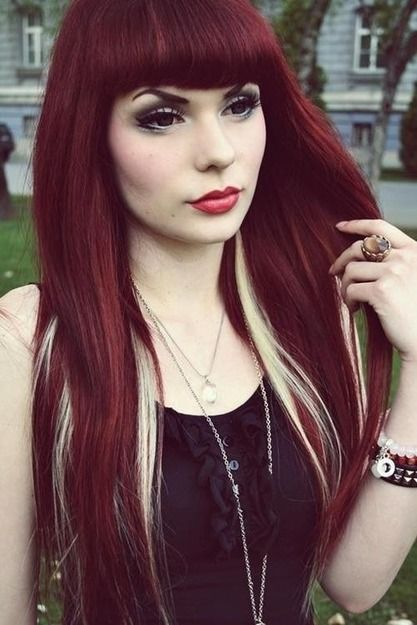 Long Red Hair With Blonde Highlights And Full Bangs