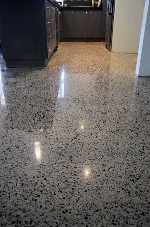 Exposed aggregate... Looks more finished than polished concrete? And can we have the same aggregate outside, but In a rougher texture? (Perth Polished Concrete) Wooden floors in the master bedroom.: