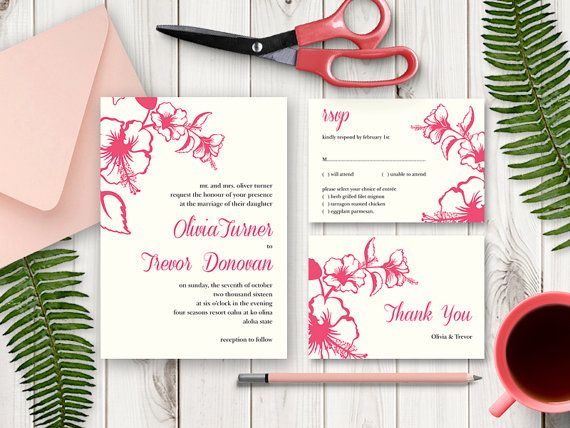 Destination Wedding Invitation Suite Hawaii Tropical Pink Printable Templates Diy Invite Rsvp And Thank You Card