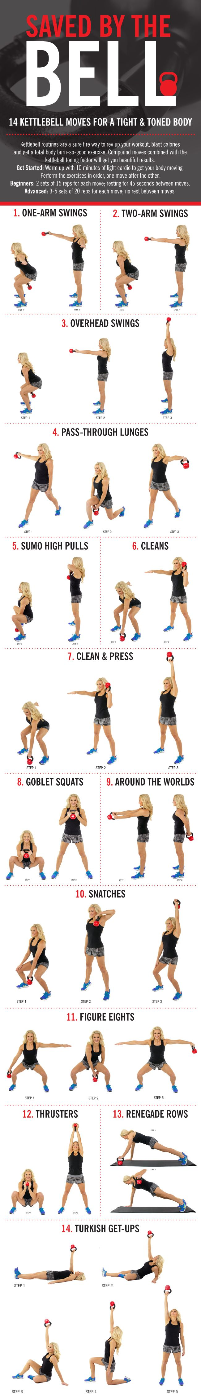 skinny mom kettlebell workout with 14 kettlebell exercises infographic
