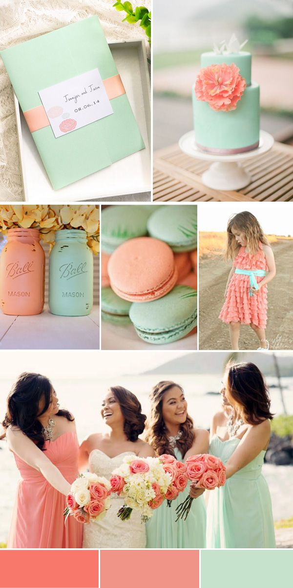 coral and mint green beach wedding
