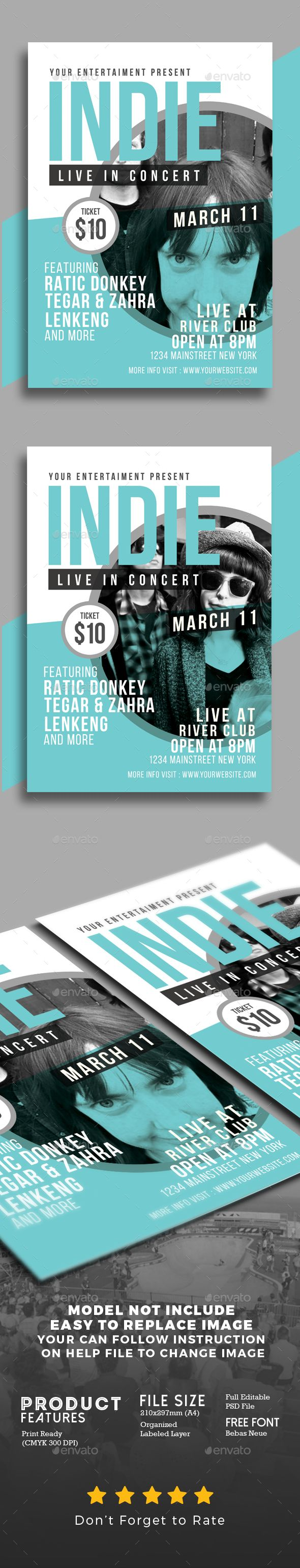 Indie Show Flyer Template PSD