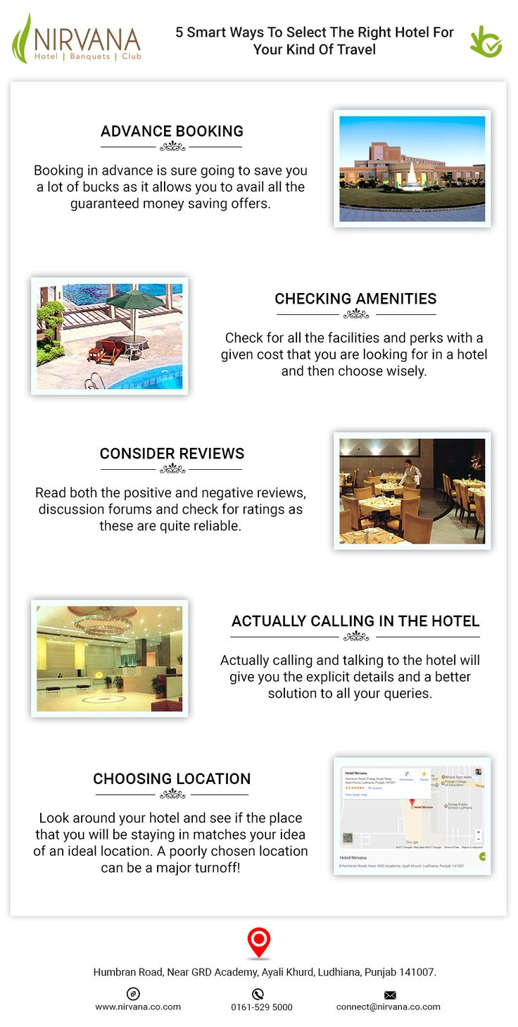 Here are the smart ways to select best luxury hotels for your kind of travel. Visit:http://nirvana.co.com/