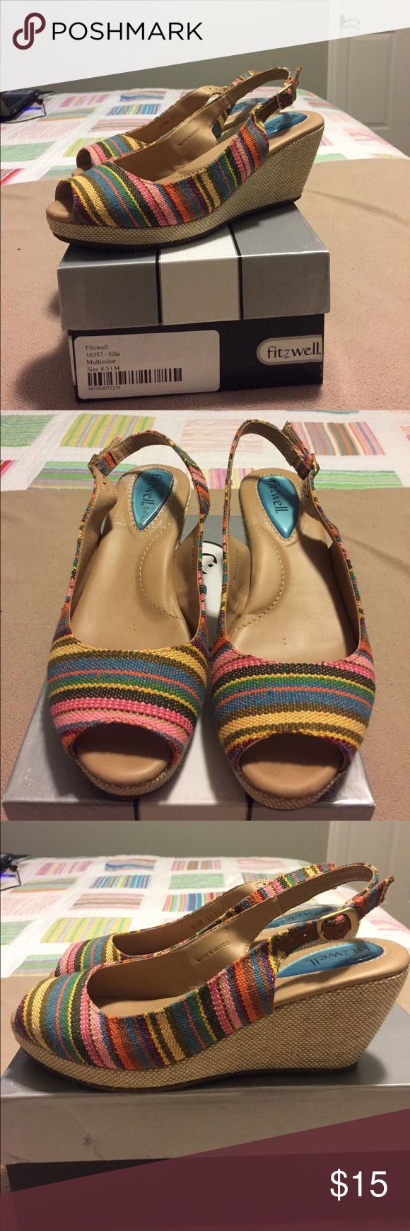 Fitzwell multicolored stripe wedge peep sandal 8.5 Fitzwell Ella multicolored stripe wedge peep toe sling back sandal, size 8.5. 3-inch heel with a 3/4-inch platform. Worn a few times but in great condition. Fitzwell Shoes Wedges