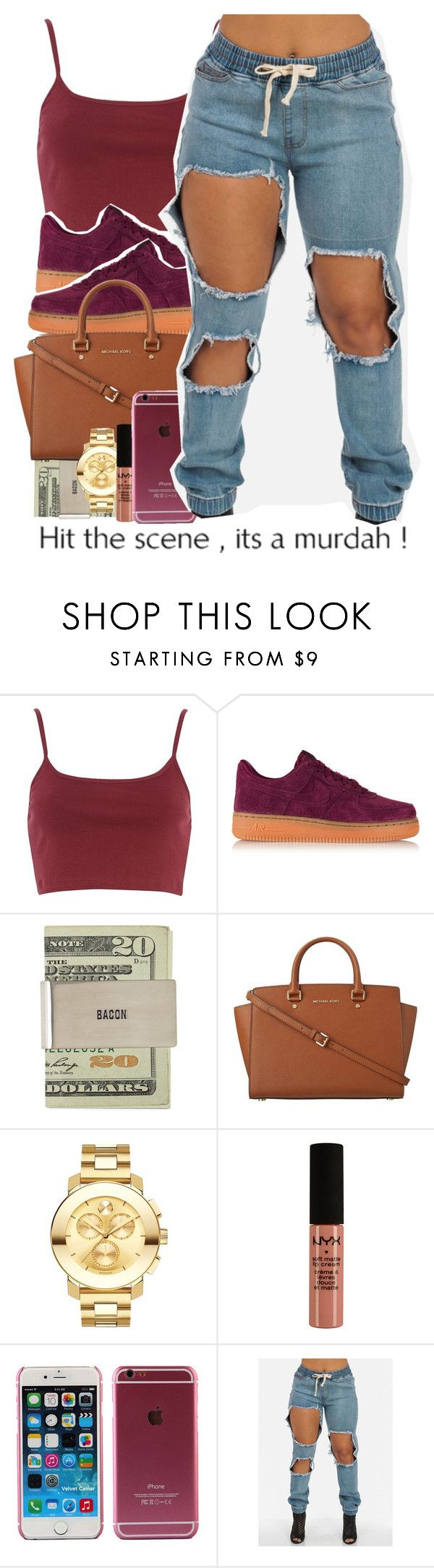 """BOOYAA...."" by alondrauribe ❤ liked on Polyvore featuring River Island, NIKE, MICHAEL Michael Kors, Movado and NYX"