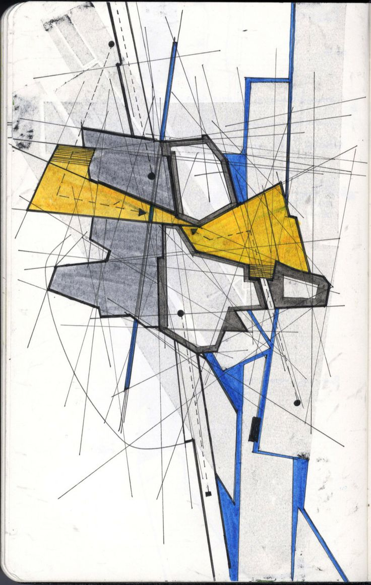 This appears to be a concept sketch and it is easier to distinguish the different ideas that the architect is trying to convey through the markers, the fineliners and the variety in line weight.
