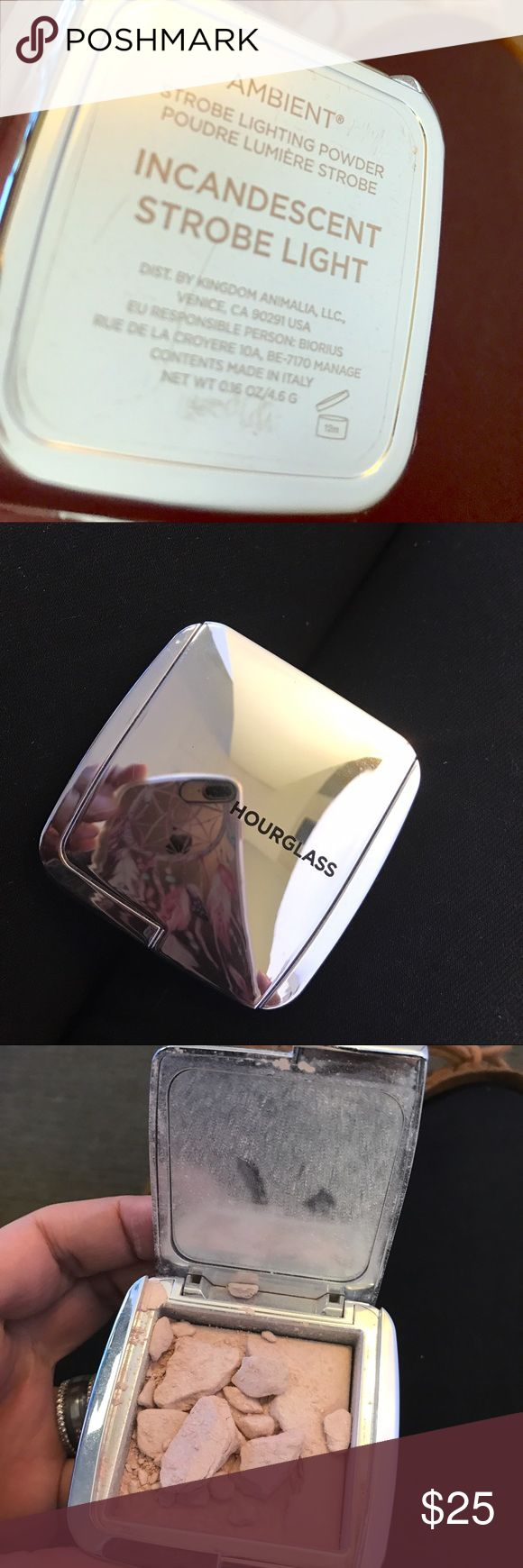 """Hourglass Ambient Strobe Lighting Powder Purchased it at Nordstrom, dropped it and as you can see the inside crumbled. Too late to return. Color is """"incandescent"""" hourglass Makeup Luminizer"""