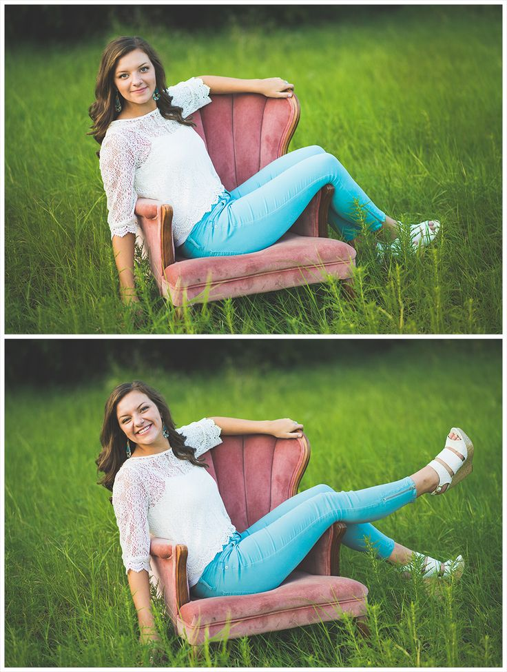 Christina- part 3 Denton senior photographer Senior Portraits, Natural light photography, Senior Female Photography, Pink Chair, Furniture in a field, beautiful, white lace shirt, blue skinny jeans, senior pose ideas, senior posing, antique furniture pictures