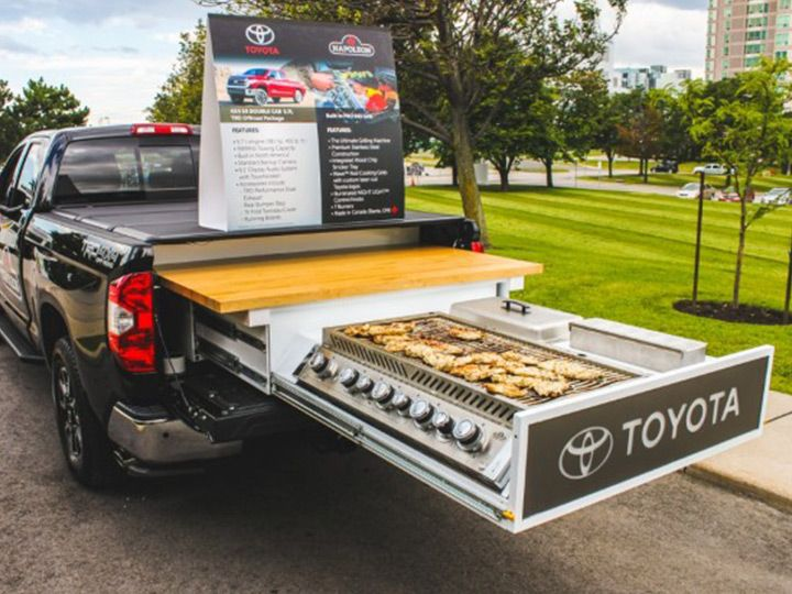 Next Level Tailgating! Toyota Tundra with a Napoleon Grill! #napoleongrill #bbq #toyota #tailgating