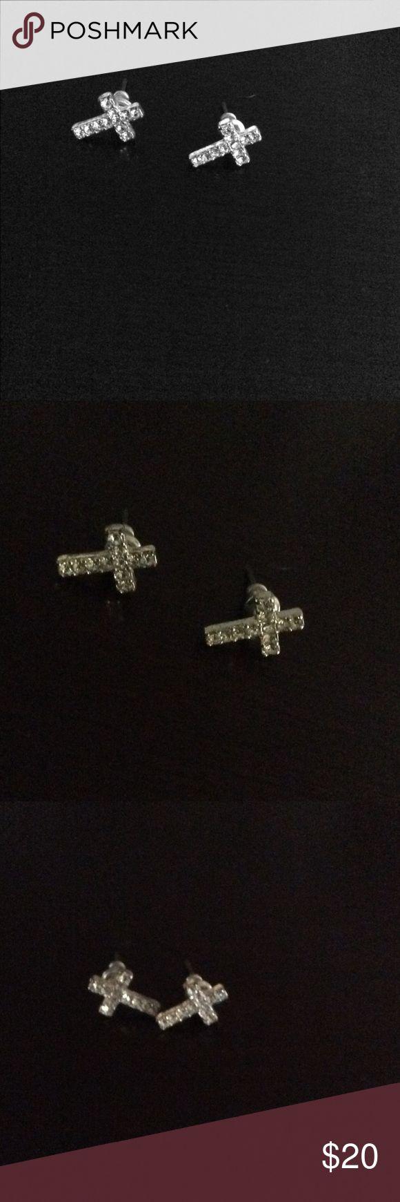 Beautiful diamond cross earrings Beautiful diamond cross earrings. Silver and cubic zirconia or simulated diamond. jcpenney Jewelry Earrings