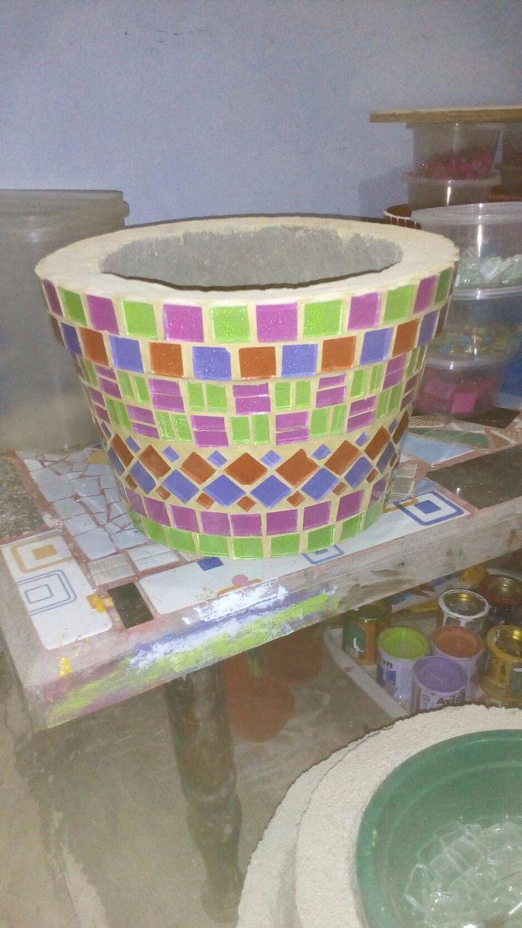 glass mosaic pottery