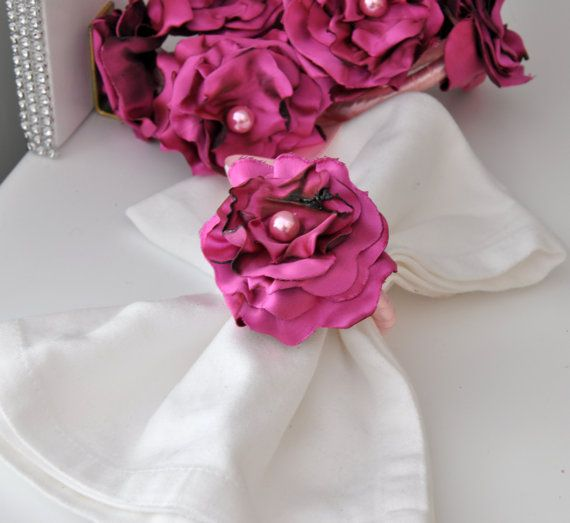 BIG SALE Fuchsia Napkin Rings by Satin Fabric by DOGAART on Etsy, $30.00