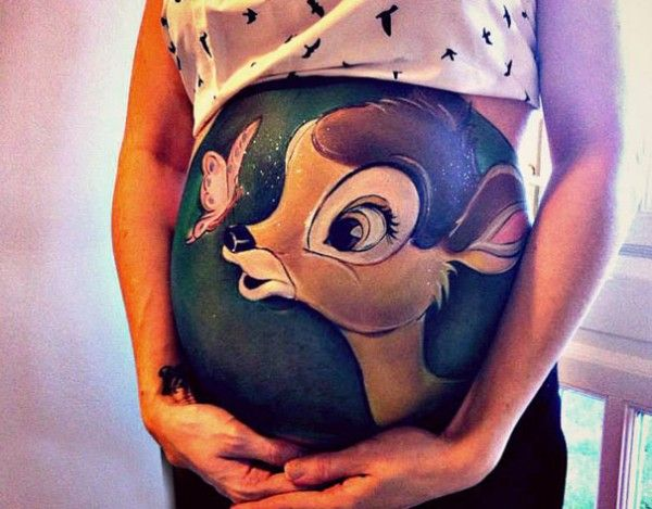 pregnant belly painting disney - Google Search