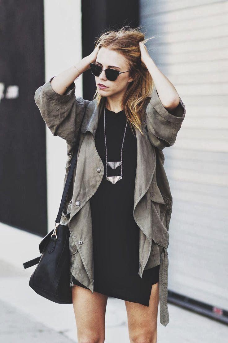 army jacket, black dress, simple necklace