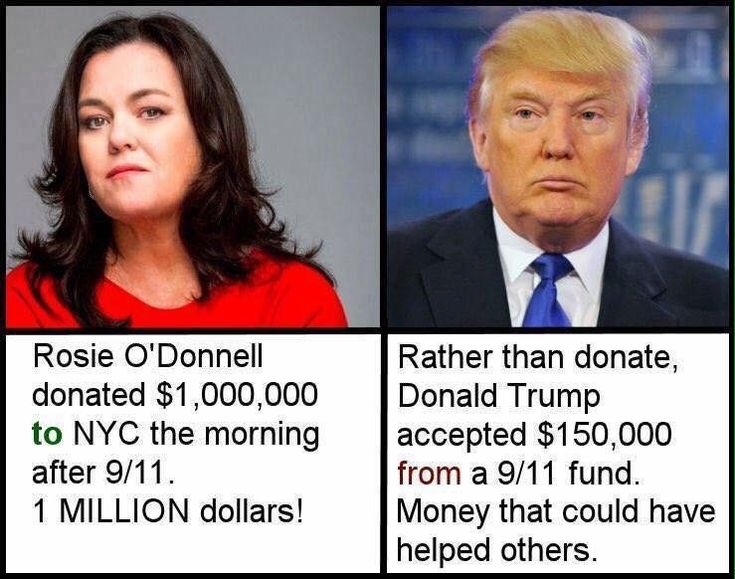 Rosie O'Donnell is a compassionate humanitarian. Trump could learn, oh no that's right... learning is not in his vocabulary.