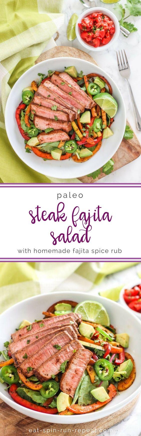 Paleo Steak Fajita Salad with Homemade Fajita Spice Rub || Eat Spin Run Repeat