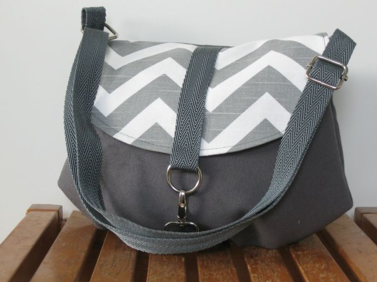 Mini Messenger Grey with Designer Fabric Flap - Bella Samuels