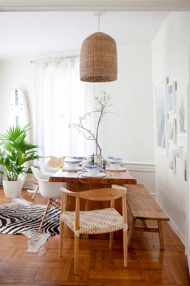 Dining Room Makeover With Wood Dining Table And Rattan Chandelier Has A Great Coastal Beachy Vibe With Pastel Hues Lots Of Pale Blue And Natural Accents