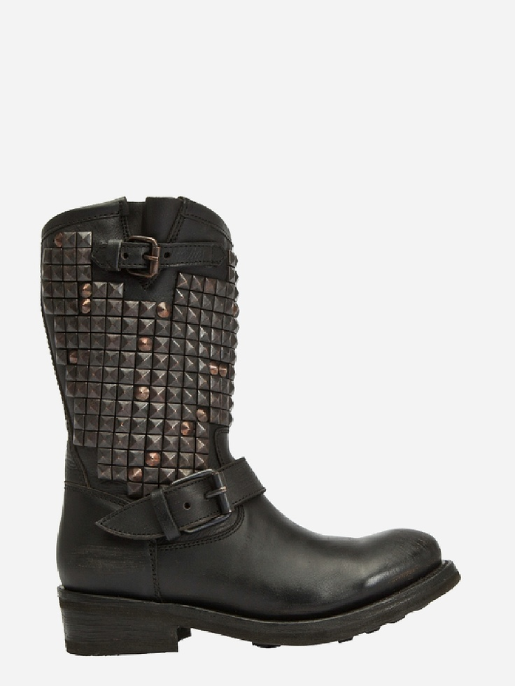 ASH MEXICAN BOOTS , Mexican Boots, Trash Black bronzato studs