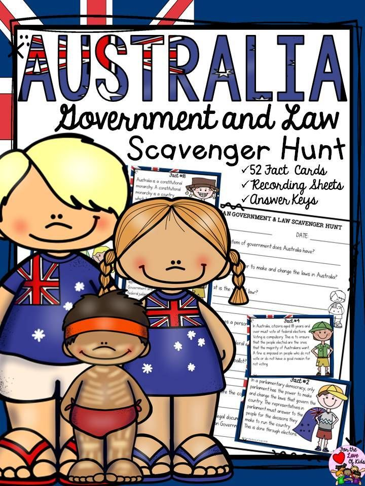 What year did the British colonies unite into a federation of states called the Commonwealth of Australia? Who conducts federal elections and maintains the Commonwealth electoral roll? Who is Australia's Head of State? Your students will enjoy knowing the answers to interesting questions with this 52 Scavenger Hunt Facts pack on Australia's Government and Law. http://designedbyteachers.com.au/marketplace/australia-government-and-law-scavenger-hunt/