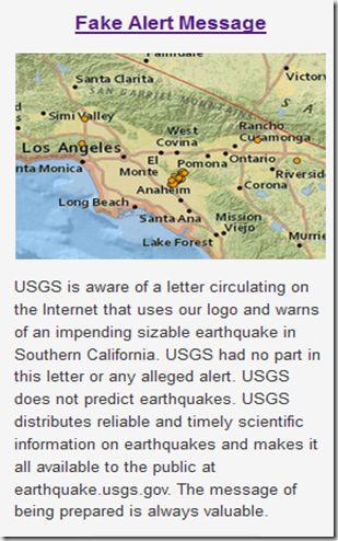 USGS Warns On Fake Earthquake Alert