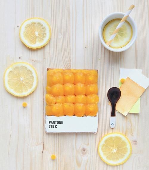 French food designer Emilie de Griottes made these edible Pantone Tarts for food magazine Fricote via CIP Creative Blog